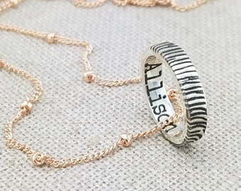 6b4f4e251b4b Personalized Fingerprint Necklace · Custom Name Jewelry · Personalized  Mother's Day Gift · Mixed Metal Necklace · Ring Necklace