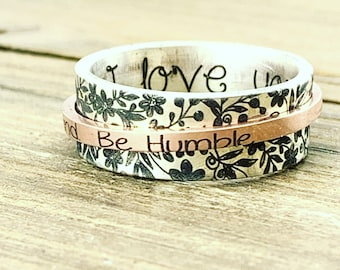 Personalized Graduation Gift - Spinner Ring -  Inspiration Jewelry -  Ring - Silver Jewelry - Custom Ring - Worry Ring - Humble