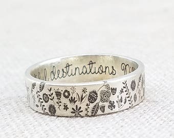 Personalized Floral Ring - Silver Ring - Personalized Jewelry - Engraved Ring - Flower Ring - Gardening - Stocking Stuffer - Gift for Her