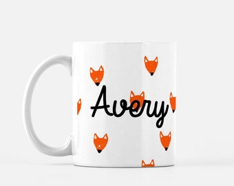 Personalized Sketched Fox Face Mug