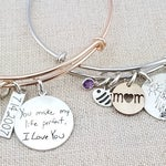 Personalized Bracelet  · Handwriting Jewelry · Personalized Bangle Bracelet · Adjustable Bangle · Kids Drawing · Mother's Day Gift Mom Women