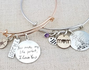 Personalized Bracelet · Mom Gift · Handwriting Jewelry · Personalized Bangle Bracelet · Adjustable Bangle · Kids Drawing · Mother's Day Gift