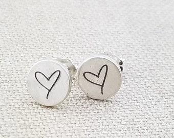 7363ced3f904 Stud Earrings - Heart Studs - Mermaid Jewelry - Silver Studs - Simpler  Silver Earrings