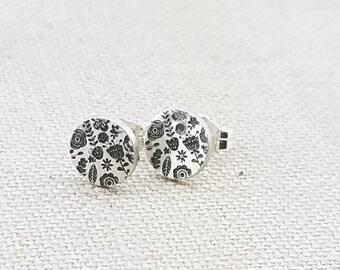 2052ca371654 Stud Earrings - Garden Flower Jewelry- Mermaid Jewelry- Heart Studs -  Nature - Silver Studs - Simple Silver Earrings