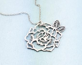 271f3e68b683 Jewelry - Peony Necklace - Flower Necklace - Garden Jewelry - Necklace -  Sterling Silver Jewelry