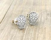Jewelry . Sugar Skull Stud Earrings - Gift - Stocking Stuffer - Jewelry- Silver Jewelry - Dia de los Muertos