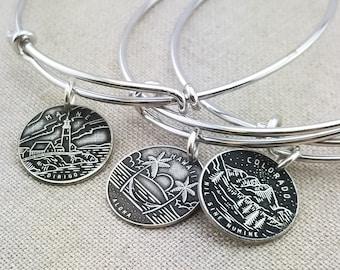 4cc30aef6853 Personalized Bracelet · State Jewelry · Gift · Adjustable Bangle Bracelet ·  Hawaii Jewelry · Travel Jewelry · Wanderlust