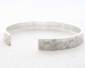Inspirational Bracelet - Silver Cuff Bracelet - E.E. Cummings Cuff Bracelet - Sea Quote - Summer Outdoors