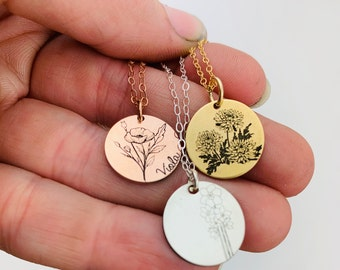 Mother's Day Gift · Personalized Birth Flower Necklace · Birth Flower  Jewelry · Necklace · Mom Gift · Personalized Jewelry · Rose Gold