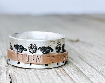 Personalized Spinner Ring · Inspiration Ring · Mushroom Jewelry · Ring · Custom Handwriting Ring · Mixed · Ring · Graduation Gift
