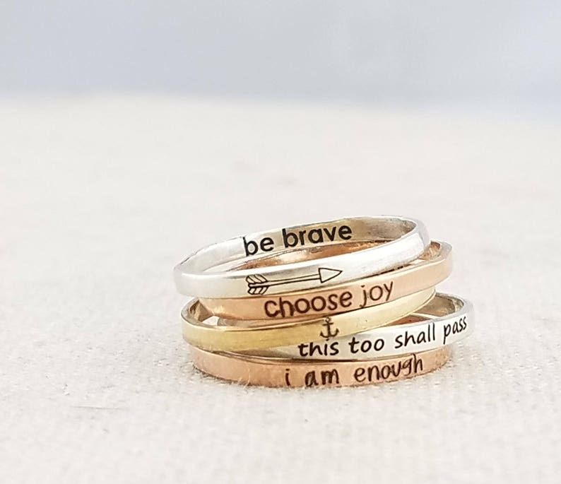 Jewelry  Stacking Ring  Inspirational Ring  Personalized image 0