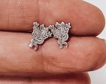 Jewelry . Snake Stud Earrings - Gift - Stocking Stuffer - Snake Jewelry- Silver Jewelry