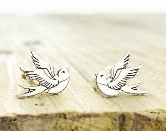 Jewelry . Bird Stud Earrings - Gift - Stocking Stuffer - Swallow Tattoo Jewelry- Silver Jewelry