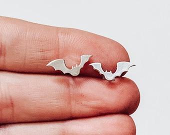 Jewelry . Bat Stud Earrings - Gift - Stocking Stuffer - Halloween Jewelry- Silver Jewelry