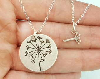 Jewelry - Mommy and Me - Mother Daughter Set - Dandelion Necklace - Gift - Best Friends Necklace - Ready to Ship - Mother's Day Gift