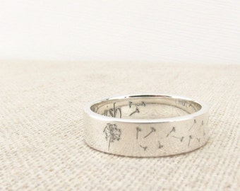 Inspiration Ring - Sterling Silver Ring - Dandelion Ring - Jewelry -  Wish Ring - Engraved Ring - Stocking Stuffer - Gift - Gift for Her