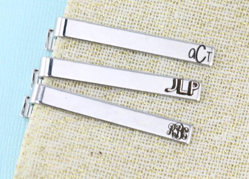 Personalized Tie Clip Groom Gift Monogram Groomsman Tie Clip