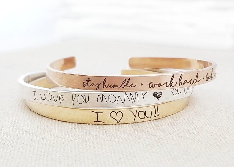 Personalized Mother's Day Gift Cuff Bracelet  Thin Gold image 0