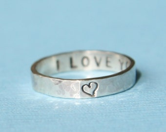 Wife Personalized Ring -  Valentine Gift -  Thin Secret Message Ring - Silver Posey Ring