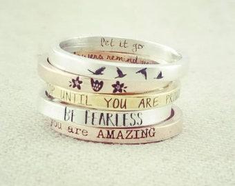 Dainty Inspirational Ring - Stacking Ring - Gift - Personalized Stacking Ring -  Jewelry -  Bird Ring -  Flowering Ring  - Rings