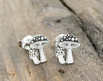 Jewelry . Mushroom Stud Earrings - Gift - Stocking Stuffer - Mushroom Jewelry- Silver Jewelry