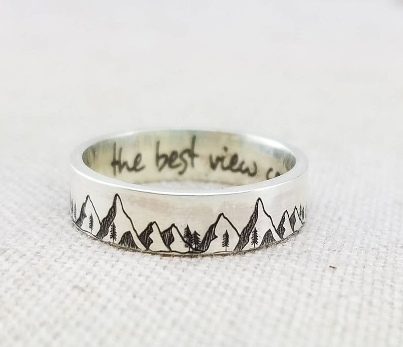 Mountain Ring  Inspirational Ring   Outdoor Gift  Band  image 0