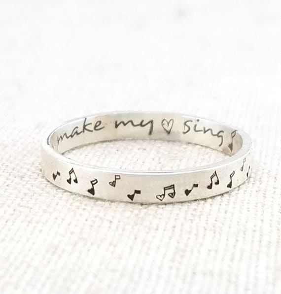 Personalized Ring Music Note Ring Wife Gift Valentine Etsy
