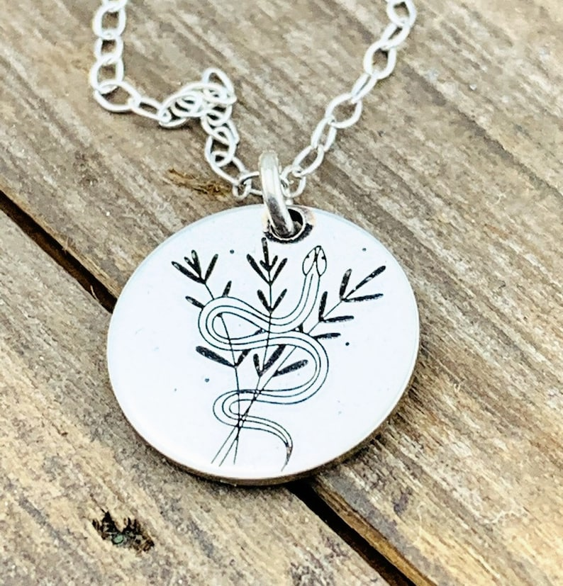 Personalized Inspiration Jewelry Necklace \u00b7 Snake Jewelry \u00b7 Healing Necklace \u00b7 Inspirational \u00b7 Nature Necklace \u00b7 Meaningful Jewelry