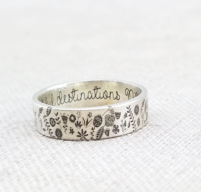 Jewelry  Personalized Floral Ring  Inspirational Silver Ring image 0
