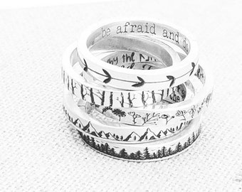 Personalized Stacking Ring · Gifts ·  Inspirational Jewelry · Mountain Ring · Forest Ring · Flower Ring · Floral Jewelry · Pattern Ring
