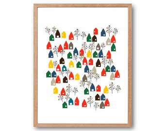 A little Lovely Town Art Print, Home Sweet Home, Illustration, Drawing, Kids room art, Nursery room Art, home decor
