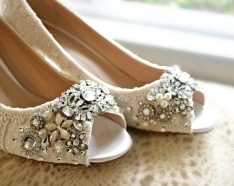 723d4b18930 Vintage Lace Wedding Shoes . Bridal open toe mid Heels ..Lacy Bridal Shoes  ...Crystals and Pearls . Sparkling Wedding shoes . vintage lace