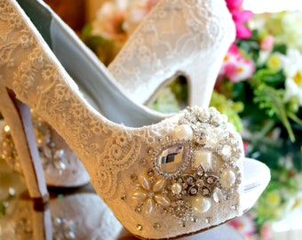 33d5067ab94c Vintage Lace Wedding Shoes . Bridal High Heels ..Lacy Bridal Shoes  ...Crystals and Pearls . Sparkling Wedding High Heels