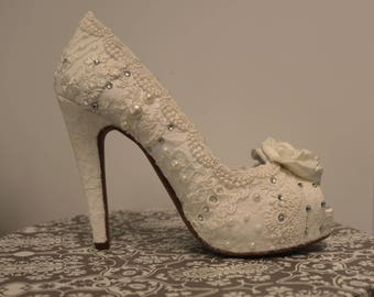561d8e0c2388 Lacey Ivory wedding shoes ..5 inch heels .. Vintage Lace shoes .. Bridal  Heels . High Heel Wedding Shoes . Vintage Lace Wedding Shoes
