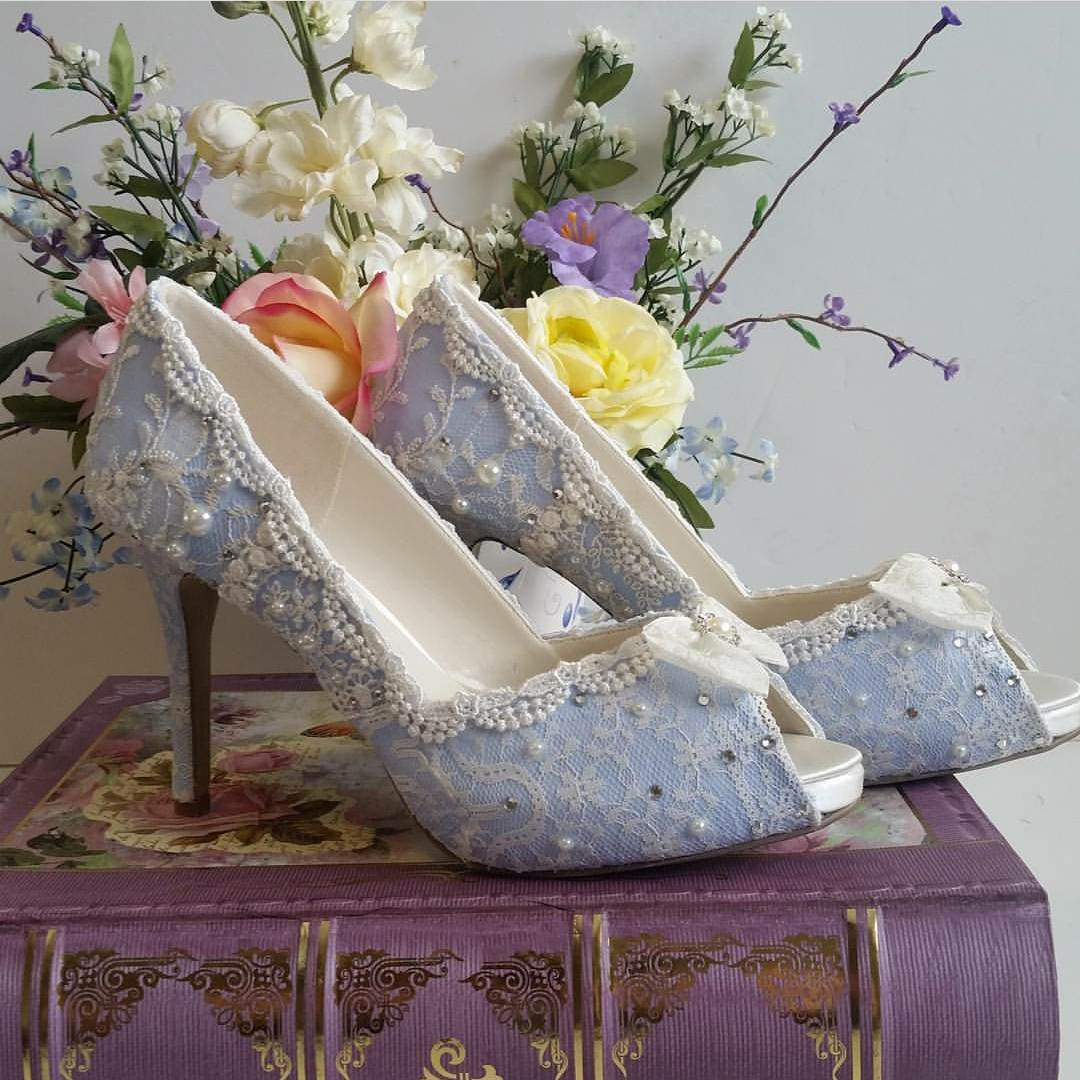 Something Blue Bridal Shoes .. Blue Lacy Wedding Shoes