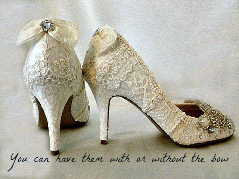 7cd2eda065c4 Lace Wedding Shoes .. Vintage Lace Wedding Shoes .. Lacy