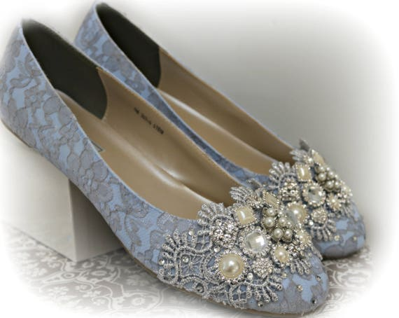Blue Ballet Flats Wedding Shoes Something Blue Wedding Etsy