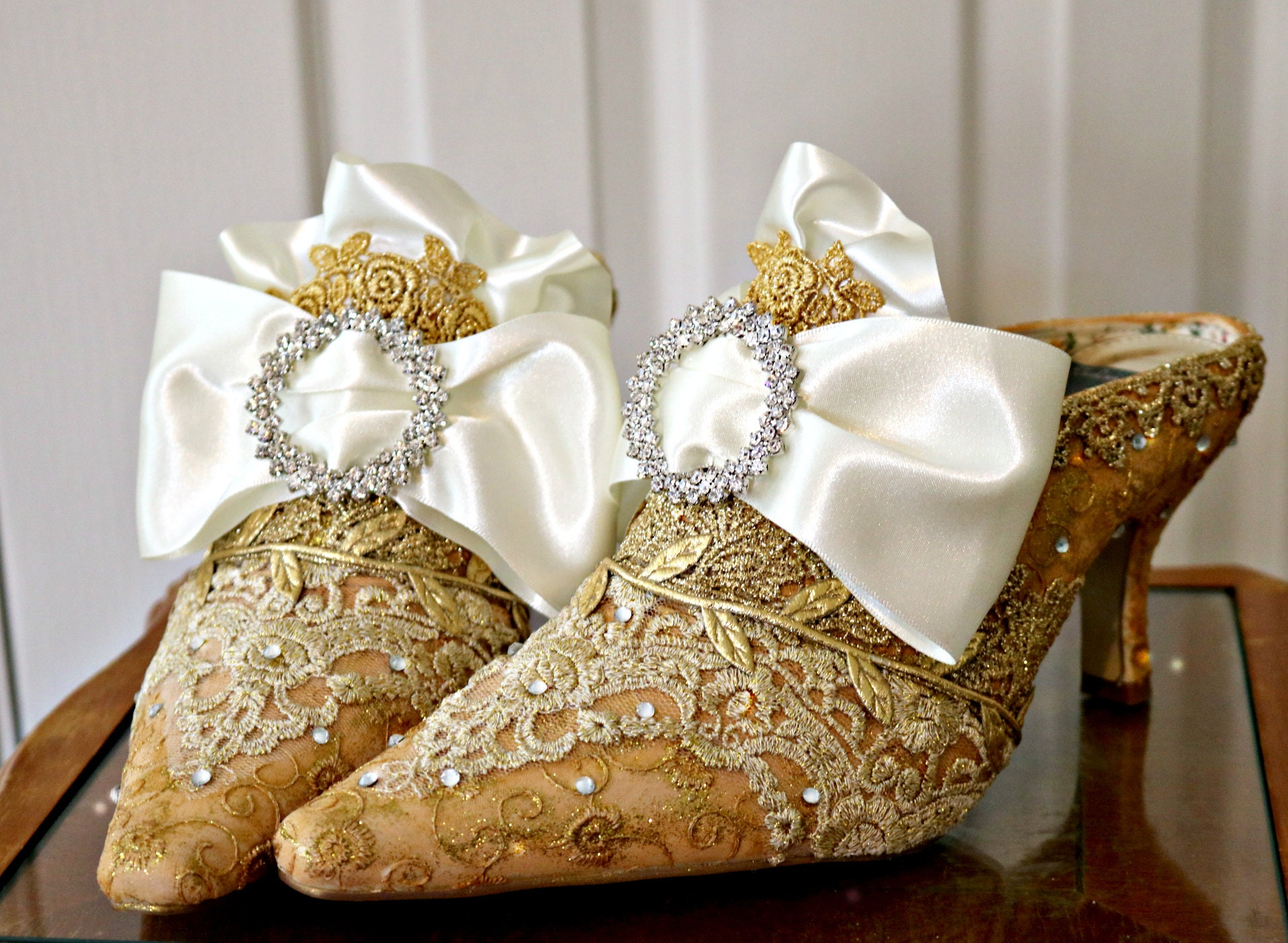 9d40a2f64699 Marie Antoinette Wedding Shoes ..Gold and Ivory Lace Shoes ..