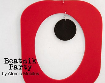 Black Red White BEATNIK PARTY Retro Art Mobile * Mod Kinetic 1970s Boho Vintage Wind Chimes Sculpture * Modernism Palm Springs Gift for Him