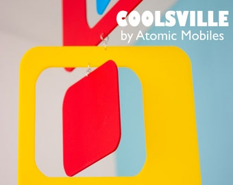 Mod Coolsville Mobile - Retro Hanging Art Mobile - Gift Ideas - Atomic Ranch - 1970s - Mid Century Style - Home Decor Mobiles - Wind Chimes
