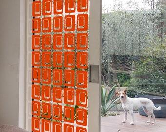 Stunning DIY Kit Orange Coolsville Room Divider Screen - Atomic Mid Century Modern Partition - 5 Sizes - Mid Mod Retro Home Decor Wall Art