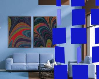 Navy Blue MODcast Mid Century Modern Art Mobiles | Dramatic Kinetic Home Decor | MODular design | Unique Gift Idea | Room Dividers