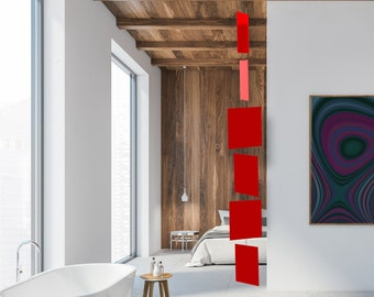 Stunning Red Art Mobiles | Mid Century Modern Kinetic Hanging Mobile | Retro Home Interior Decoration | Retro Room DIvider | Gift Ideas