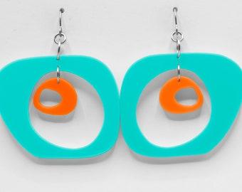 Paris 2-Tone Modern Art Earrings - Retro Midcentury Statement Earrings - Mod Fashion Acrylic Jewelry - Geometric Earrings -Dangling Earrings