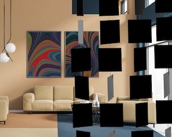 Black MODcast Mid Century Modern Art Mobiles | XL Dramatic Kinetic Home Decor | MODular design | Unique Gift Idea | Wall Art | Room Dividers