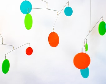 DIY Art Kit - Make It Yourself Hanging Mobile - Polka Dots - MCM Palm Springs Kinetic Art - Boho Decor - DIY Projects - Stay At Home Fun