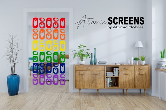 Atomic Screens Curtain Mod Curtains Room Divider Partition LGBTQ Pride Retro Mid Century Inspired Room Dividers Rainbow Doorway Curtain
