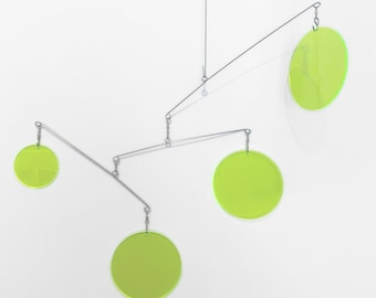 Neon Green Fluorescent DIY Kit - Easy Fun Mobiles - Kinetic Decorations Home Decor - Kinetic Hanging Art - Gift Ideas