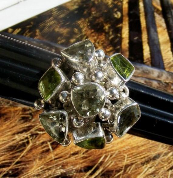 Green Amethyst and Peridot Ring Size 6
