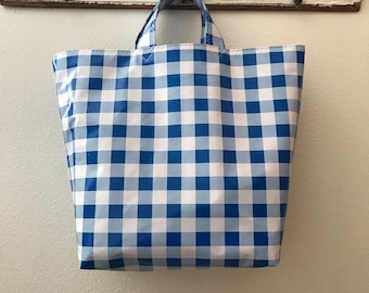 black Beth/'s  blue yellow or red Gingham Oilcloth Large Market Tote Bag in multiple colors
